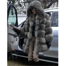 Women's Trendy Winter Quilted Faux Fur Hooded Thick Coat in 4 Hot Colors image 3