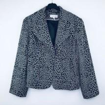 Calvin Klein Women's 16 Blazer Cheetah Black Shoulder Pads Snap Buttons U20 - $19.99