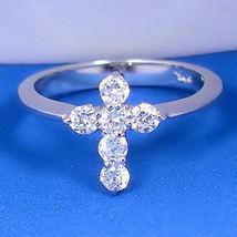 0.6ct Cross Religious Symbol Simulated Diamond Promise Friendship Ring 925 sz 9 - $34.00
