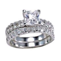 3.4ct Princess Cut Russian Ice Simulated Diamond Wedding Ring Set 925 SS... - $61.00