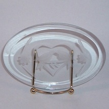 Love Birds Kissing Plaque Stand Beveled Glass Collectible Home Decorative image 2
