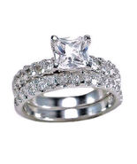 3.4ct Princess Cut Russian Ice Simulated Diamond Wedding Ring Set 925 SS... - $67.00