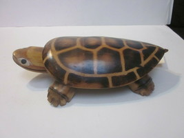 VINTAGE LARGE HAND CARVED WOOD & BAMBOO BOBBLE HEAD TURTLE FIGURE STATUE - £7.70 GBP