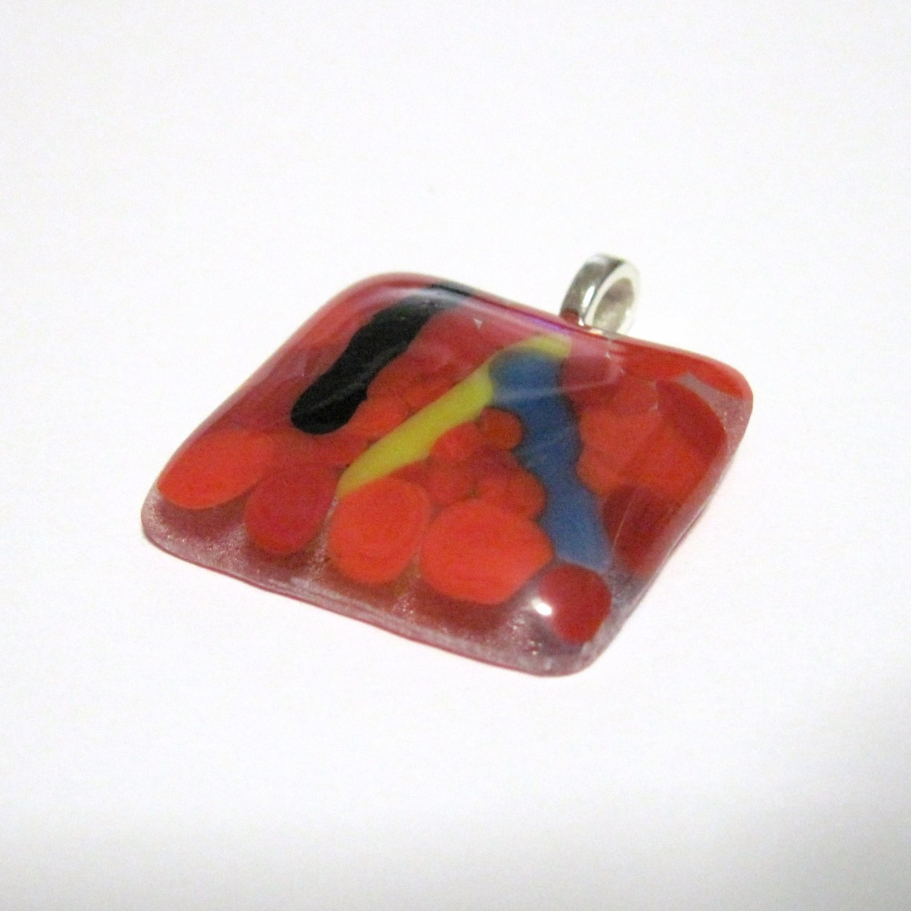 Luft Balloons Fused Glass Pendant Red with Black Blue and Ye