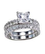 3.4ct Princess Cut Russian Ice Simulated Diamond Wedding Ring Set 925 SS... - $67.00