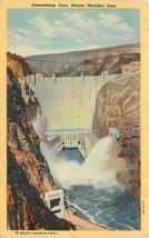 Linen Postcard NV C367 Downstream Face Hoover Boulder Dam Colorado River AZ - $7.00