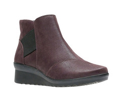 New Clarks Women Cloudsteppers Caddell Tropic Ankle Boot Aubergine 7.5 - $106.47