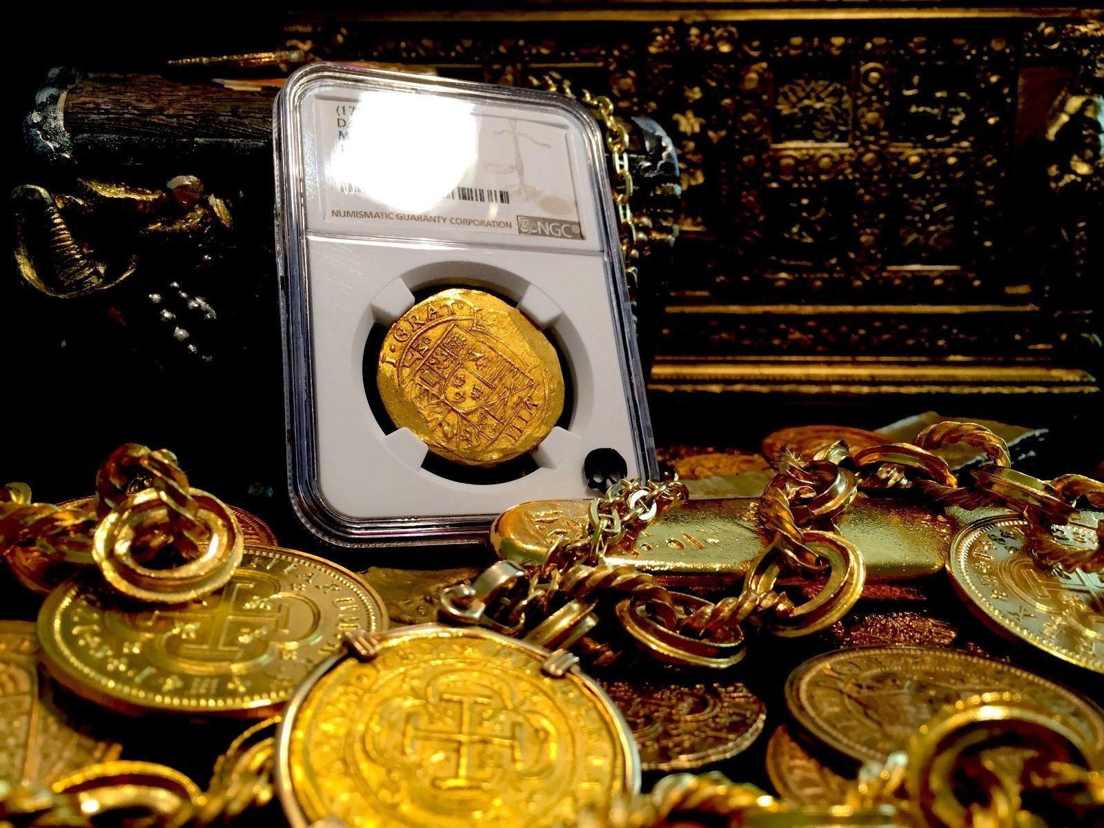 """MEXICO 1714 8 ESCUDOS NGC 64 """"FINEST KNOWN"""" 1715 FLEET GOLD COB TREASURE COIN"""