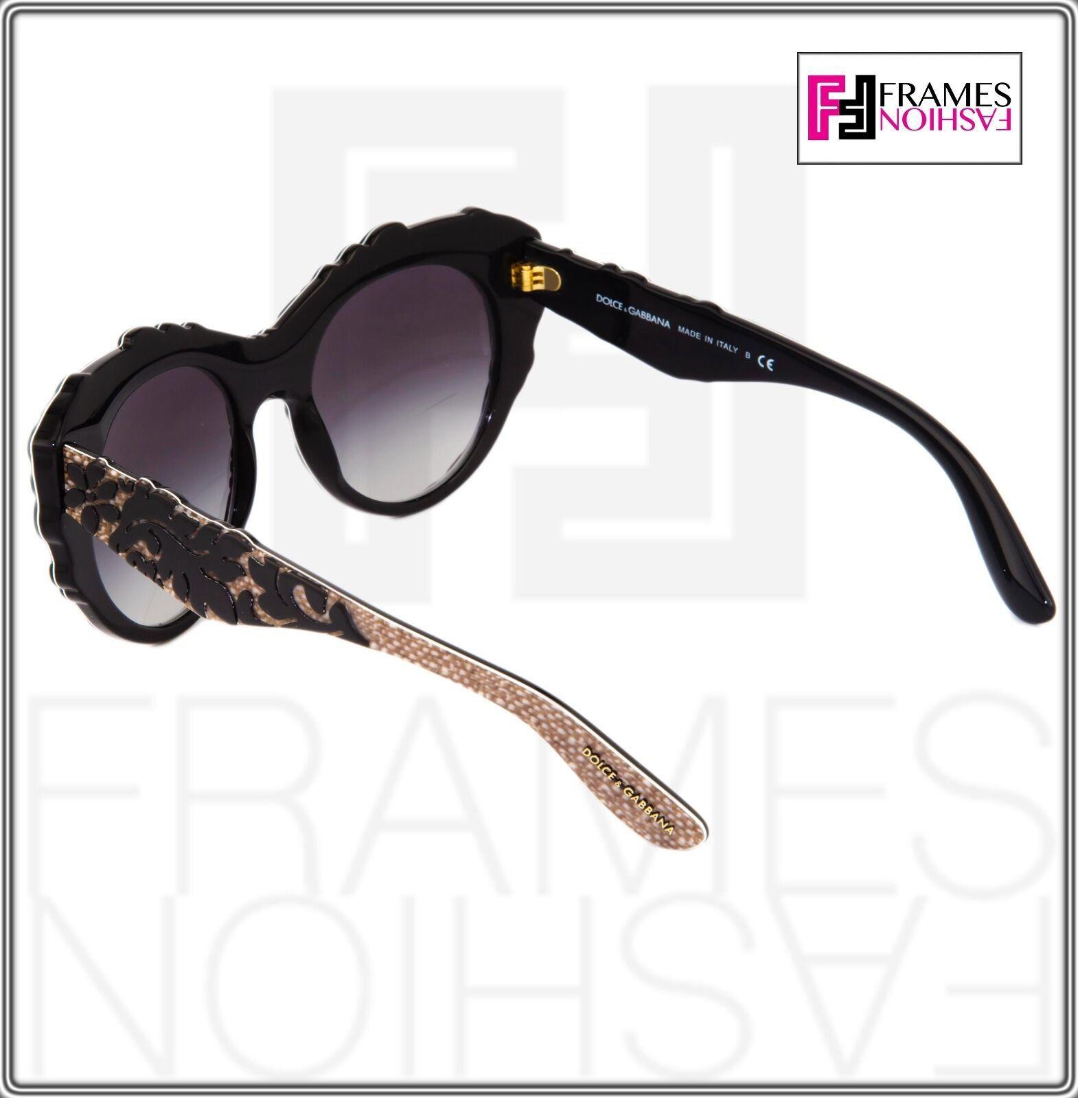 Dolce & Gabbana Mamas Brocade Black Texture Gradient Cat Eye Sunglasses 4267