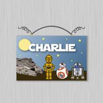 Personalized Star Wars Canvas on Wood Door Sign Plaque Nursery Kids Boys... - $19.99