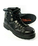 Harley Davidson Mens 8.5 Black Leather Motorcycle Boots Heavy Duty Toe C... - $52.88