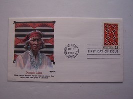 """Navajo Art"" Navajo Man Stamp First Day Cover 1986 Window Rock AZ - $4.94"