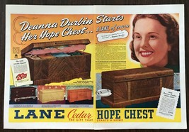 ORIGINAL 1940 Lane Cedar Hope Chest Two-Page Color Print Ad Deanna Durbin - $11.01