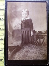 Cabinet Card Cute Young Girl Black Dress! c.1866-80! - $5.00