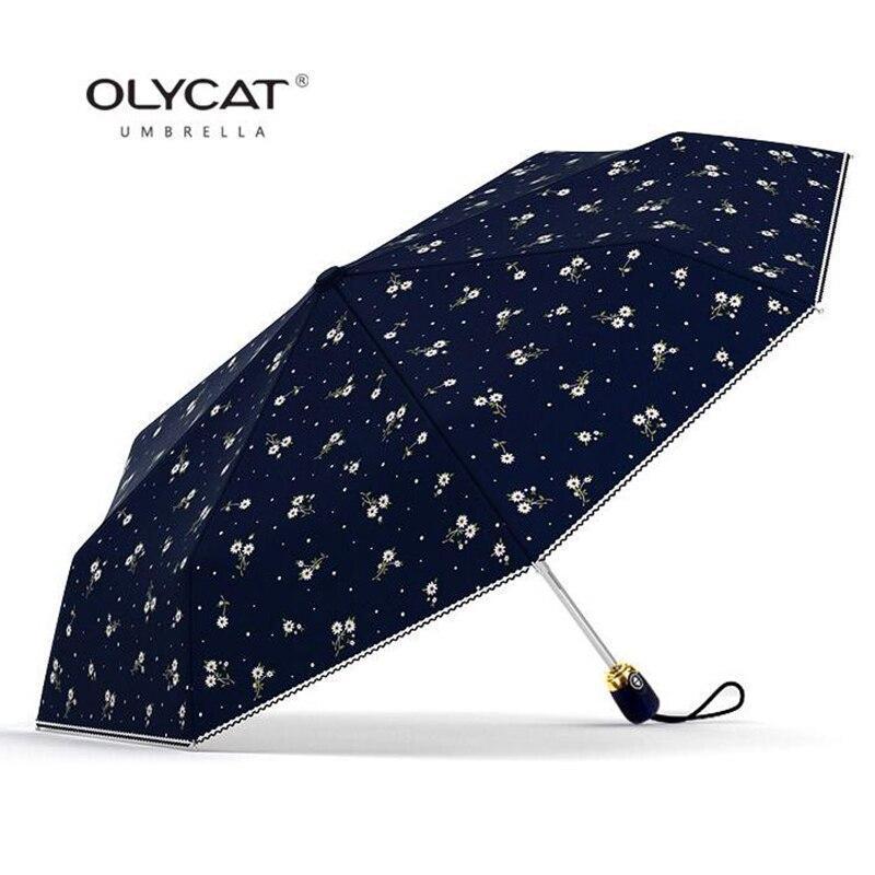 Women's Umbrellas Automatic Sunscreen Anti UV Flowers Folding Umbrella Windproof