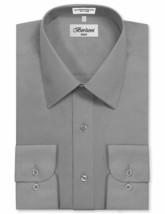 Berlioni Italy Men's Premium Classic Standard Cuff Light Grey Dress Shirt - M image 1