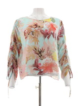 Vince Camuto Drawstring Sleeve Faded Bloom Blouse Aqua Glow S NEW A306701 - $45.52