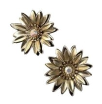 Vintage Gold Toned Floral Earrings Clip Rhinestone Costume Jewelry - $16.82