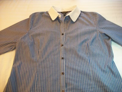 WOMEN GEORGE BLUE STRIPE CAREER SHIRT TOP XL EXTRA LARG