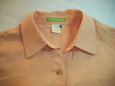 WOMEN SIGRID OLSEN ORANGE CAREER SHIRT TOP MEDIUM SMALL