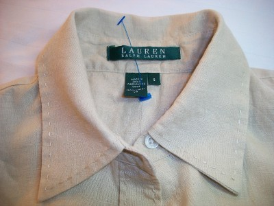WOMEN RALPH LAUREN TAN CAREER SHIRT TOP M MEDIUM SMALL