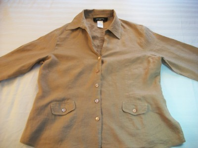 WOMEN JONES NY BROWN PETITE CAREER SHIRT TOP SIZE 12P