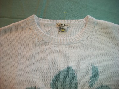WOMEN CYNTHIA TAYLOR WHITE SWEATER 1X PLUS SHORT SLEEVE