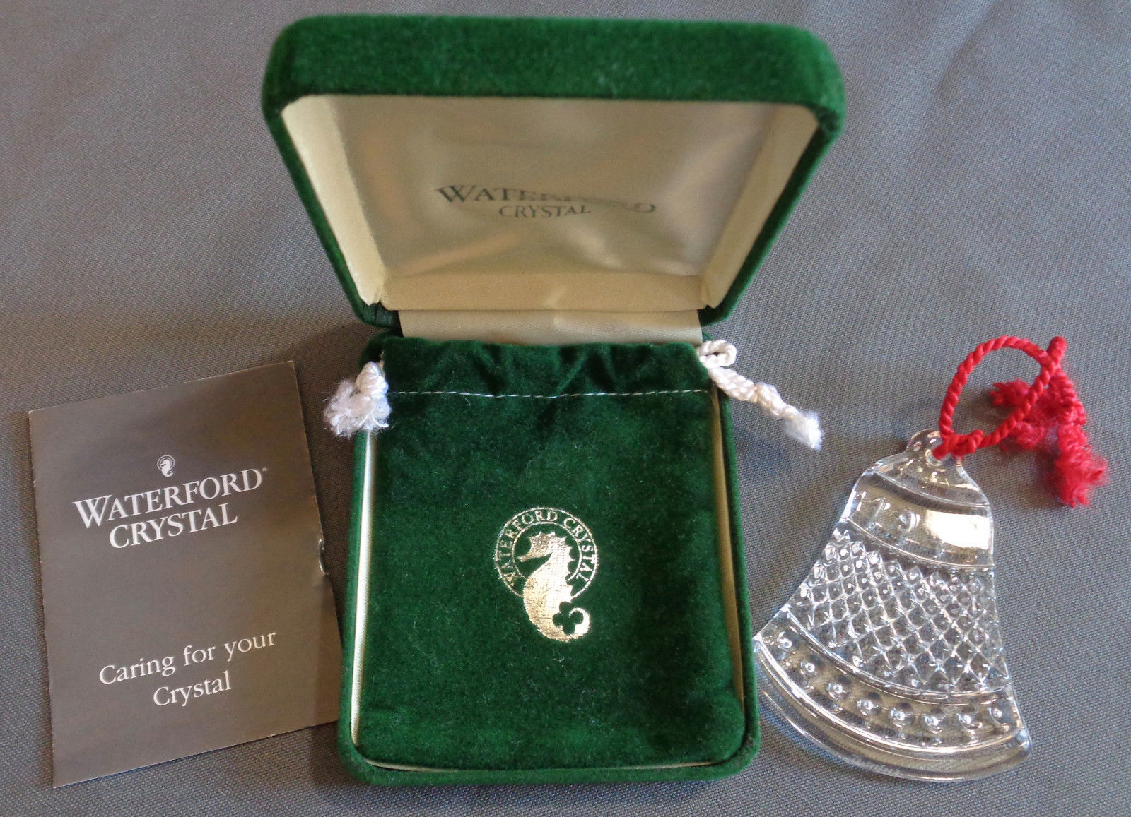 Waterford Fine Crystal 1993 Double Sided Bell Ornament w/ Box & Pouch 1990s