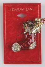 Macy's Holiday Lane CZ Crystal Christmas Shoe Sock Brooch Pin New on Card