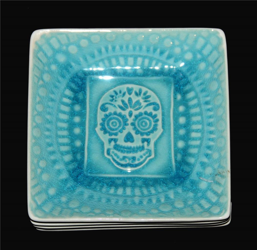 4 Roscher Turquoise / Teal Crackle Sugar Skulls Square Stoneware Appetizer NEW - $32.99