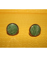 Round green jadite like stone on goldtone base ... - $16.99