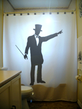 Magician SHOWER CURTAIN Wizard Magic Top Hat Wand Cape - $85.00
