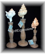 SEASIDE COLLECTION~SET of 3 DECORATIVE SEASHELL FINIALS - $19.95