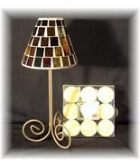 RUSTIC WROUGHT IRON AMBER GLASS MOSAIC TEALIGHT LAMP - $13.95