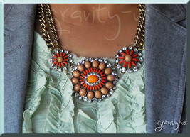 SALE Authentic J Crew Retro Pinwheel Crystal Bubble Bib Chain Necklace P... - $18.59