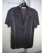 PATRICIA JONES USA METALLIC FORMAL DRESS SHIRT WITH BELT SIZE M - $19.99
