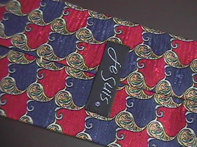 Je Suis Neck Tie Silk Reds Blues and Golds with Silver Accents
