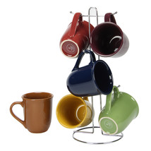 Gibson Home Cafe Amaretto 7 -Piece Mug Set With Wire Rack - $38.99