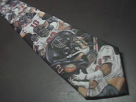 Ralph Marlin Neck Tie Atlanta Falcons Football 1990 Players On Black Bac... - $9.99