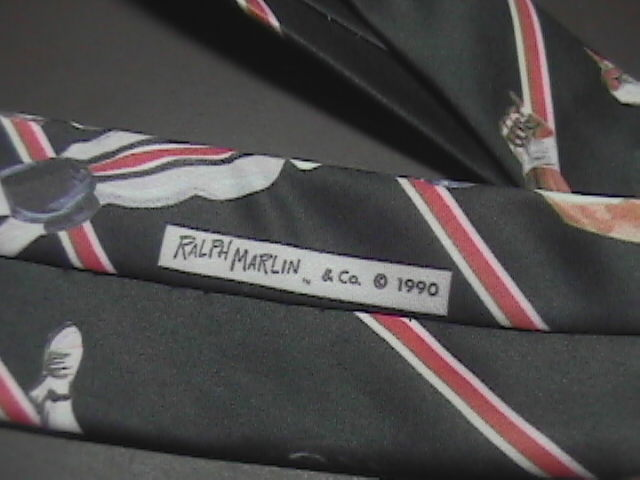Ralph Marlin Neck Tie Atlanta Falcons Football 1990 Players On Black Background