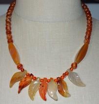 Vintage Signed Sterling Silver Hessonite Garnet Leaf Choker Necklace - $98.99