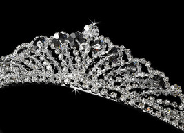 CLOSEOUT Price! Silver Clear Bicone Crystal Prom Bridal Wedding Tiara He... - $75.95