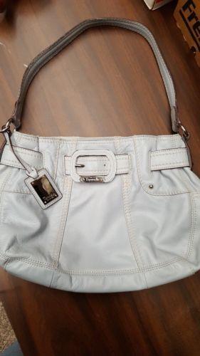 Tignanello Bluish Grey Leather Shoulder Bag Organizer Hobo Buckle Accent, EUC