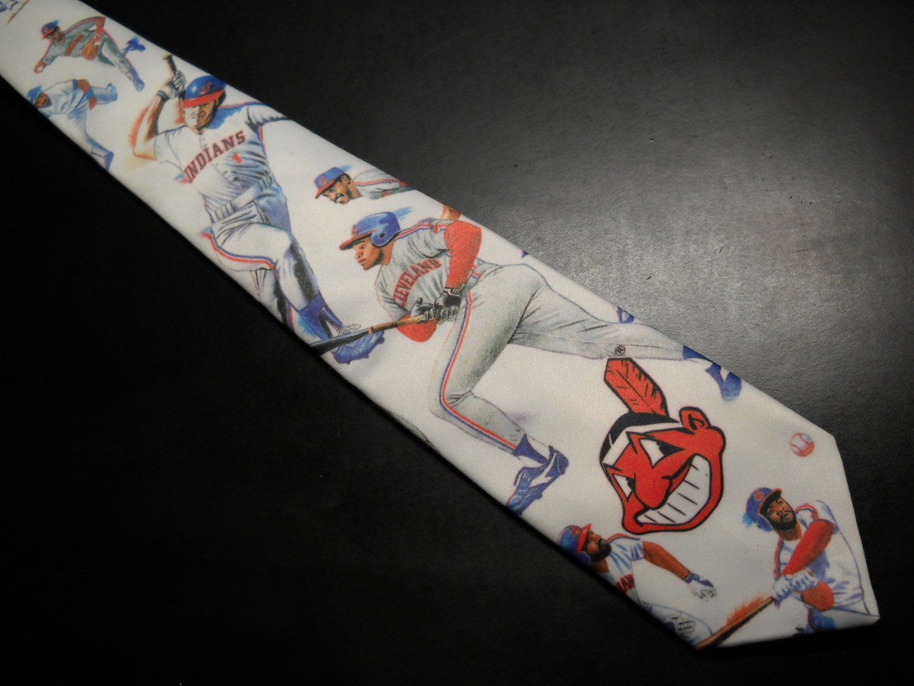 Ralph Marlin Neck Tie Cleveland Indians 1991 Chief Wahoo and Players on White