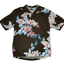 Tommy Bahama Brown Pink 100% Silk Floral Hawaiian Aloha Camp Button Shirt Med - $27.99