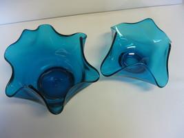 Elegant Glass Cobalt Blue Ruffled Candy or Mint Dishes - $39.99