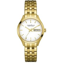 Caravelle 44N107 Women's Gold Steel Band With White Analog Dial Watch Ne... - $37.36