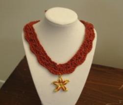 Necklace Rust Orange Starfish pendant  free shipping - $24.00