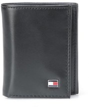 Tommy Hilfiger Men's Leather Credit Card Wallet Slim Trifold Black 31TL11X018