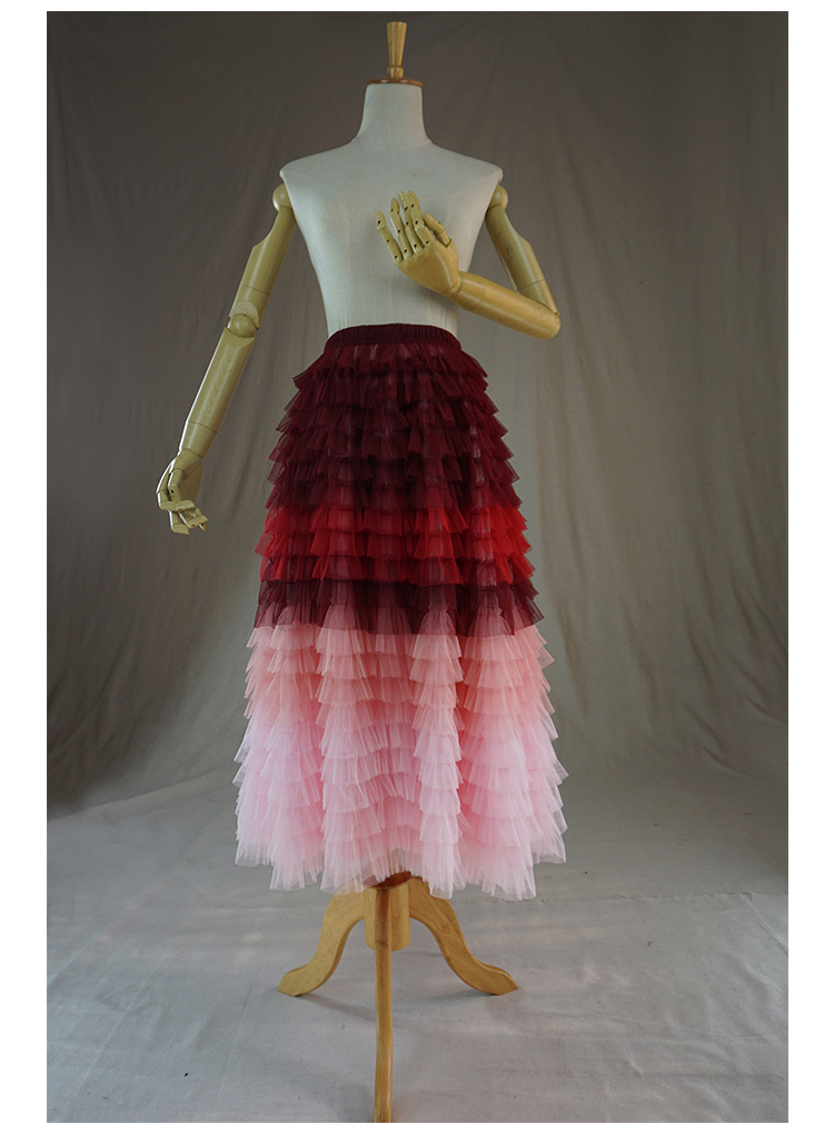 Red pink tulle skirt 4